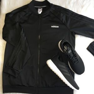 Adidas Jacket Black Tracksuit Sporty Athletic Top
